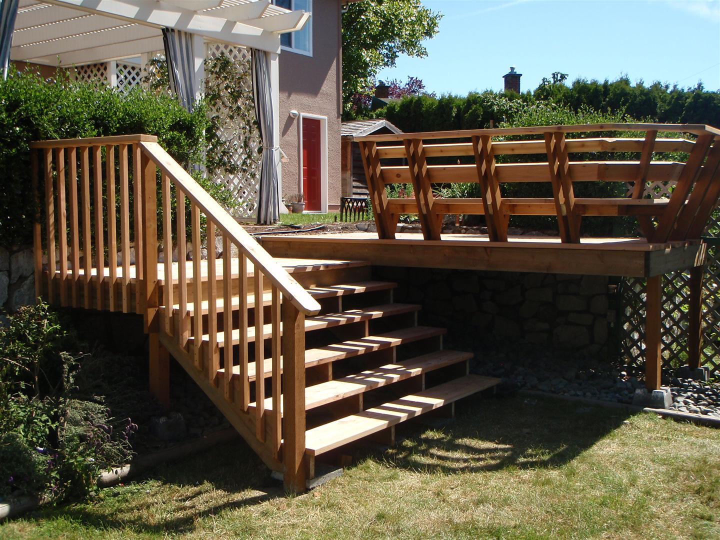 Deck With Concrete Stairs Deck, Stairs And Bench ...